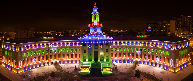 Droneaerial Panorama Christmas Holiday Lights Denver City