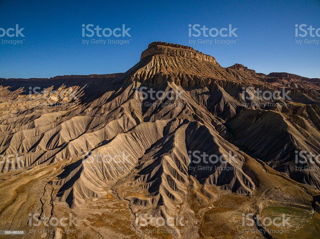 Drone/Aerial Photo Mt. Garfield. Desert Mesa in Colorado Rocky Mountains stock photo