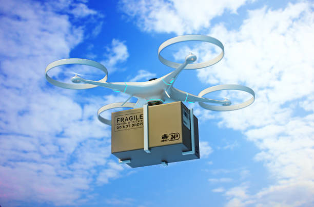 "drones carry express packages in the sky.""npackages are transported in high-tech settings,online shopping,concept of automatic logistics management.3d rendering. - drones stock pictures, royalty-free photos & images"