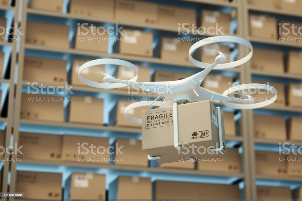 Drones carry express packages in warehouses.Packages are transported in high-tech Settings,online shopping,Concept of automatic logistics management.3d rendering warehouse. Drones carry express packages in warehouses.Packages are transported in high-tech Settings,online shopping,Concept of automatic logistics management.3d rendering warehouse. Air Vehicle Stock Photo