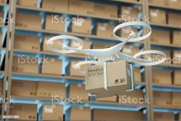 Drones Carry Express Packages In Warehousespackages Are Transported In Hightech Settingsonline Shoppingconcept Of Automatic Logistics Management3d Rendering Warehouse Stock Photo - Download Image Now