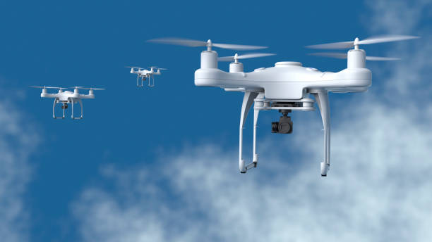 Drones fly in the sky stock photo