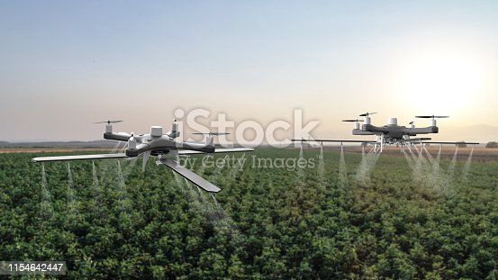898449496istockphoto Drones spraying a field 1154642447
