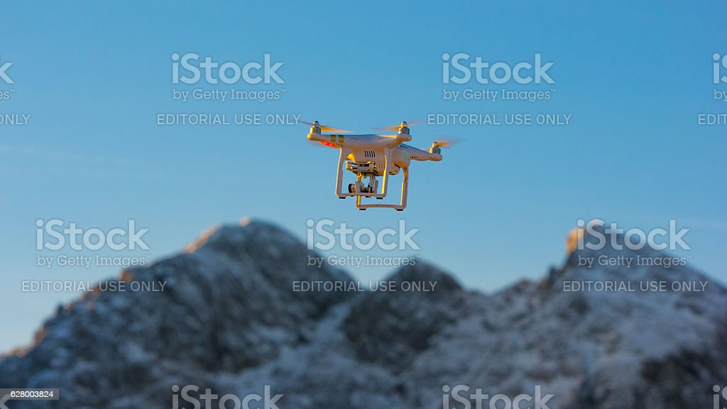 Drone/UAV in flight stock photo