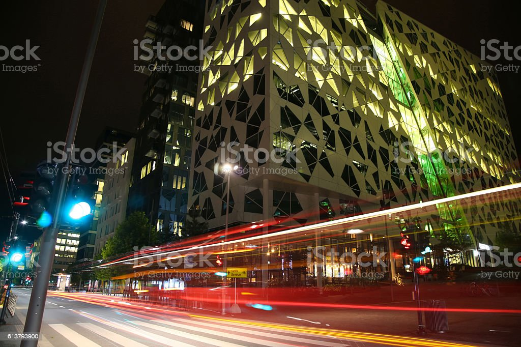 Dronning Eufemias gate street in Oslo at night stock photo