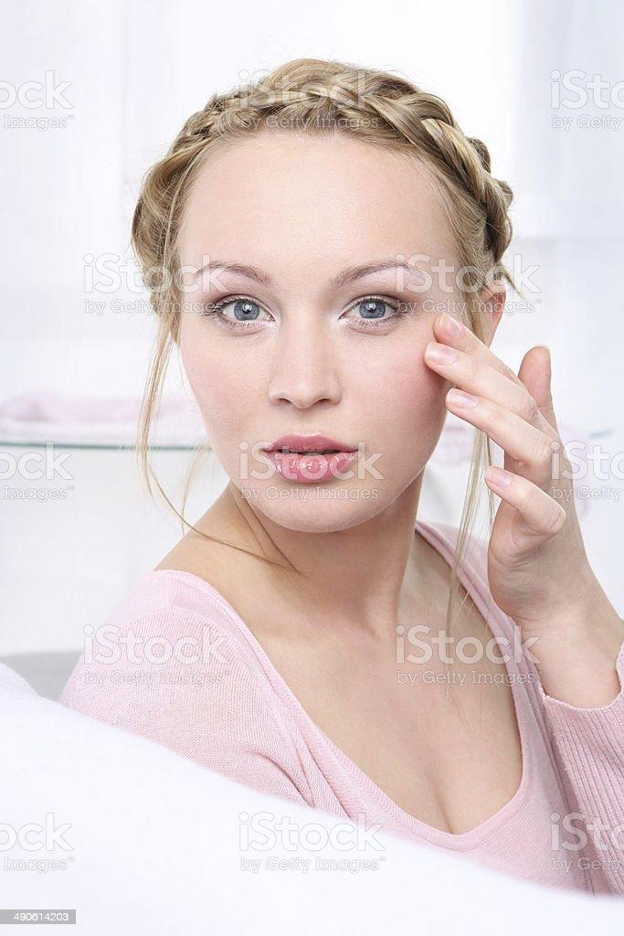 Drooping eyelid stock photo
