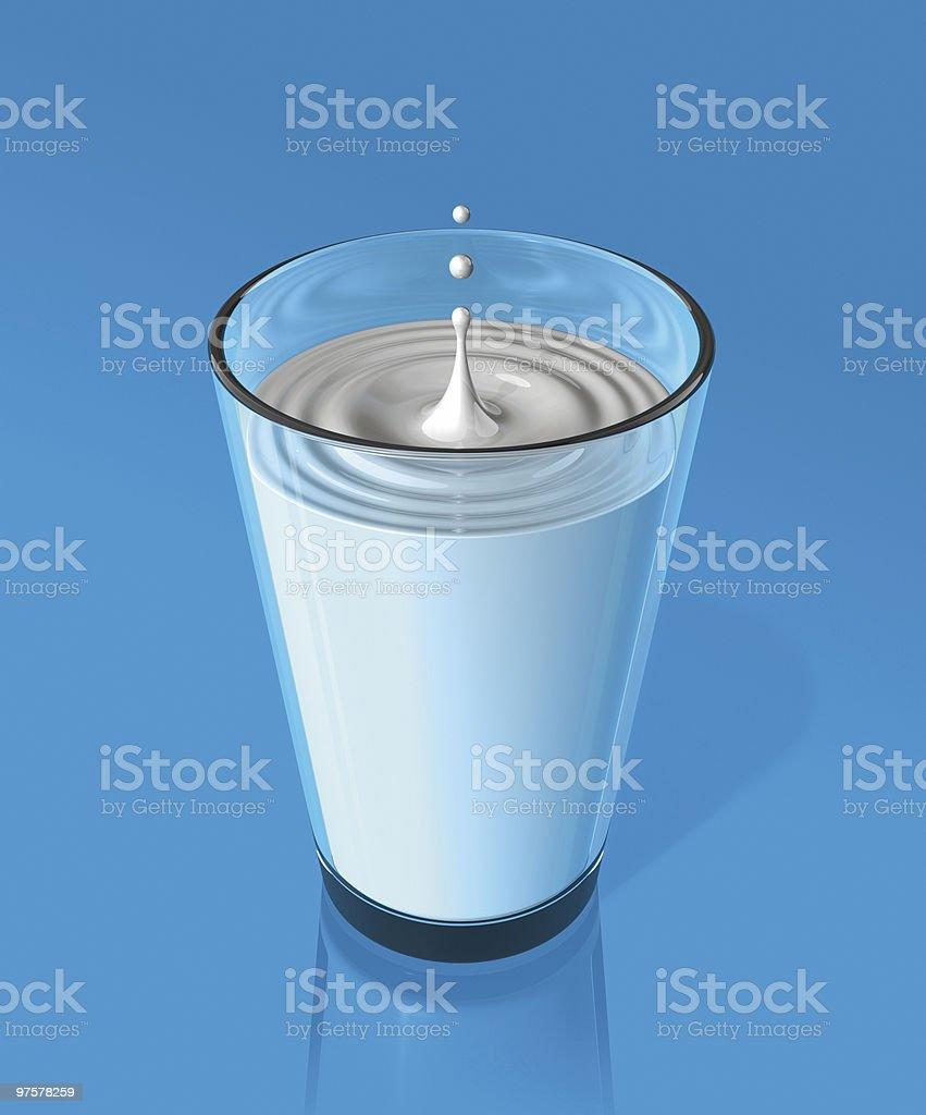 drop of milk and ripple in a glass royalty-free stock photo
