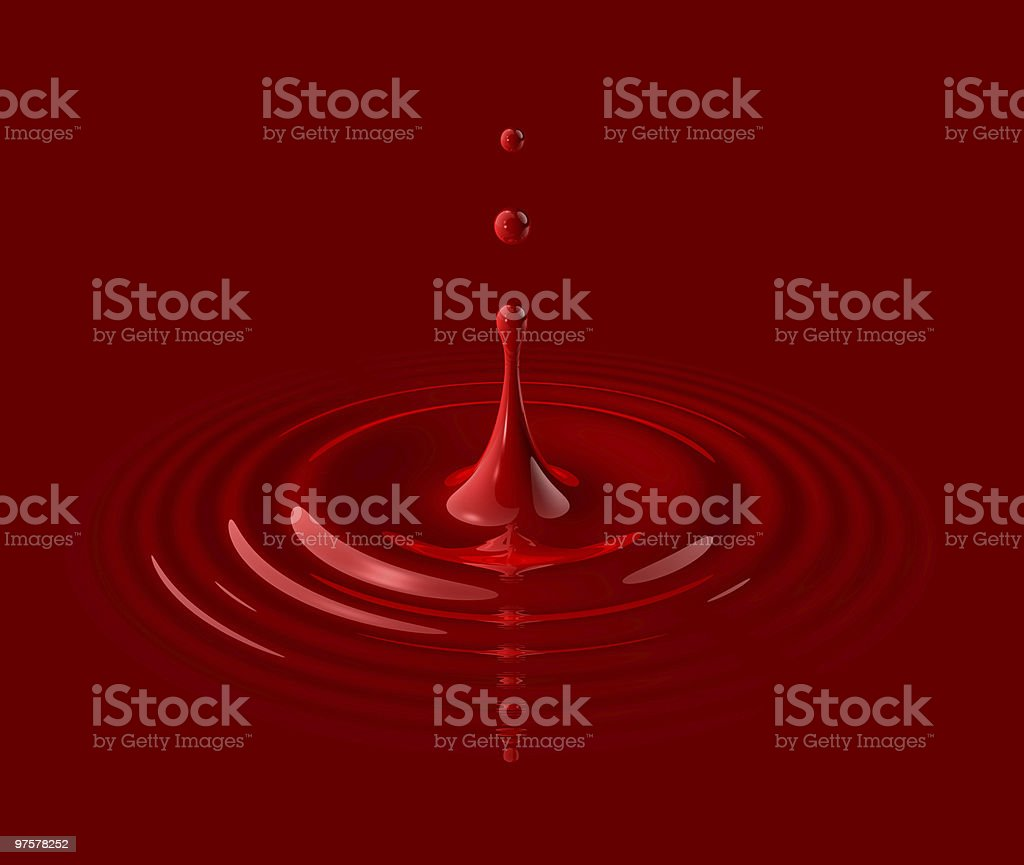 drop of red blood and ripple royalty-free stock photo