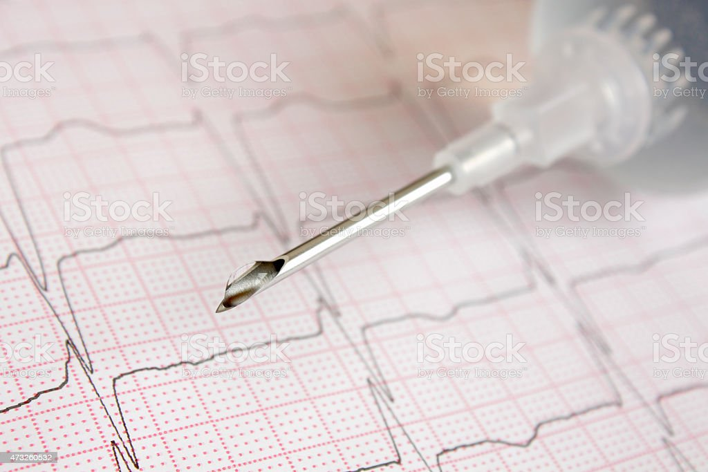 drop of solution on tip of medical needle. stock photo
