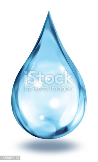 blue water droplet - isolated