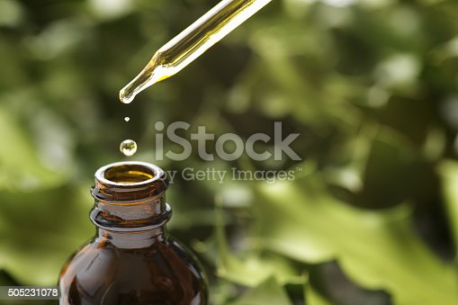 Brown herbal extraction bottle with a dropper.