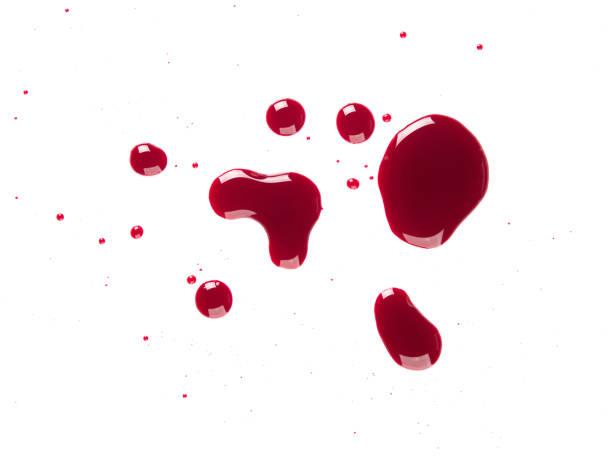 Drop red blood bleeding splash isolated on white background stock photo