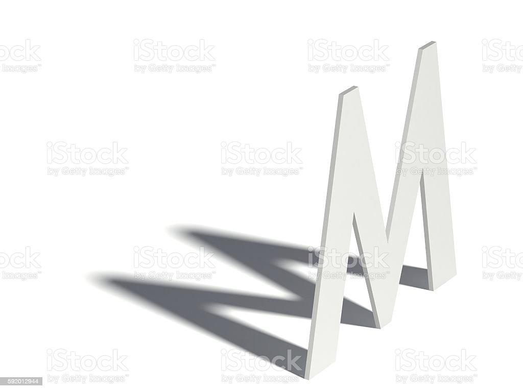 Drop shadow font. Letter M. 3D – Foto
