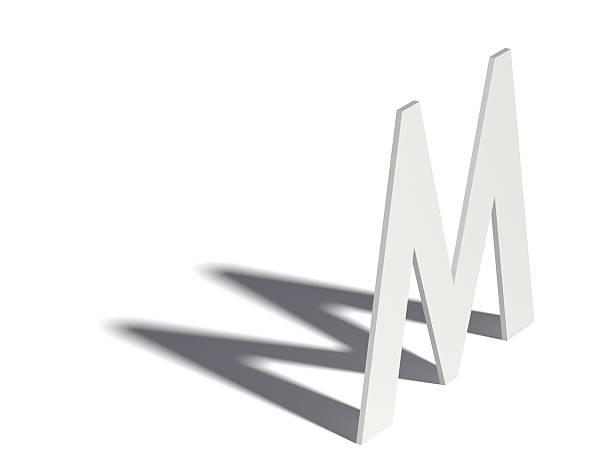 Drop shadow font. Letter M. 3D stock photo