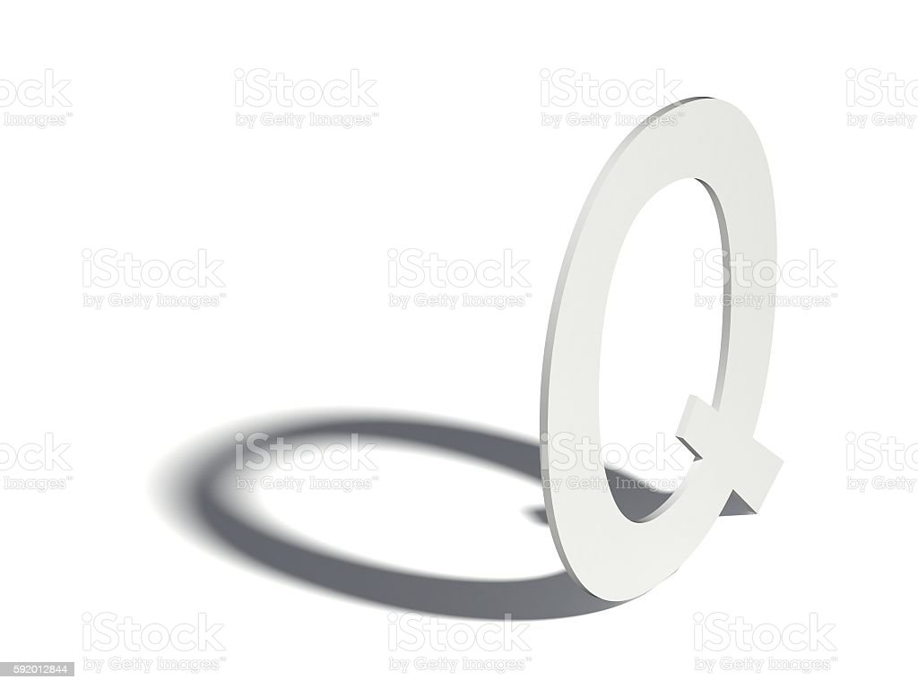 Drop shadow font. Letter Q. 3D stock photo