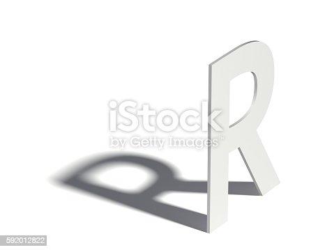 583978558istockphoto Drop shadow font. Letter R. 3D 592012822