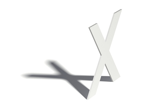 848178088 istock photo Drop shadow font. Letter X. 3D 592012608
