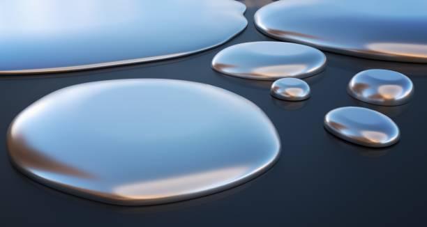 Droplets of liquid metal - mercury. 3D rendered illustration. stock photo