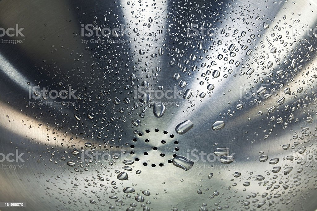 Droplets stick to the steel wash basin royalty-free stock photo