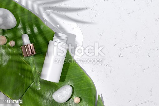 Dropper Bottle Mockup. Top View of Opened Hyaluronic Acid Serum Bottle and Tropical Leaf. Natural Organic Beauty Product for Cosmetic Magazine. Ad Template with Copy Space for Text. 3D Illustration.