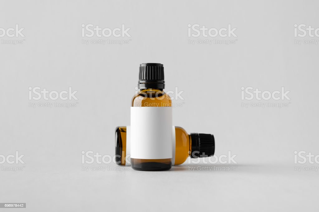Dropper Bottle Mock-Up - Two Bottles. Blank Label stock photo