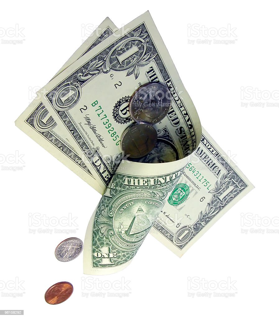Dropping money stock photo