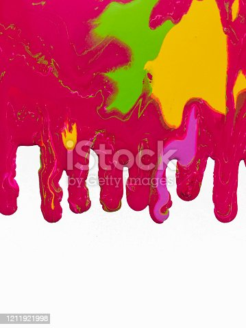 Drops flowing of red yellow And purple paint on white background