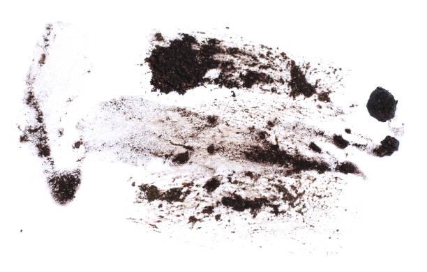 gotas de lama pulverizado isoladas no fundo branco, com traçado de recorte - foto de acervo