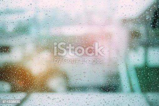 653331540 istock photo Drops of rain on glass background made with vintage Tones. 614338630