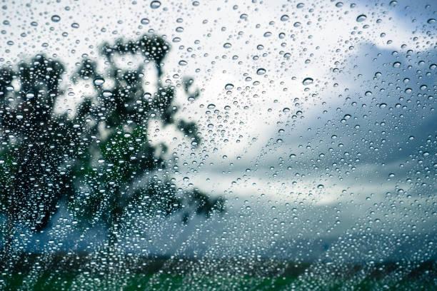krople deszczu na oknie; zamazane drzewa i chmury burzowe w tle - deszcz zdjęcia i obrazy z banku zdjęć