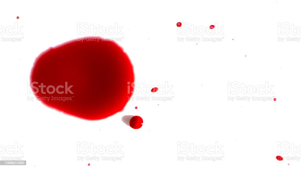 drops of red blood on white paper stock photo