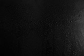 Drops of water on a dark glass texture background