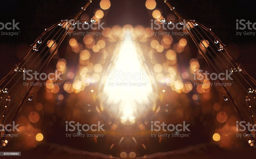 Drops of water on the harp instrument, music background stock photo