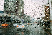 Drops on Car Window in Rainy Weather