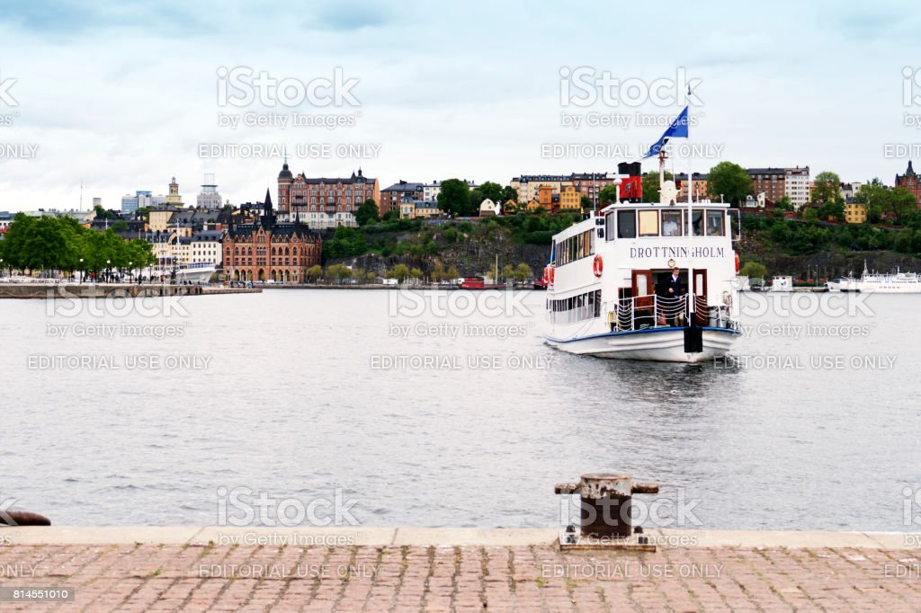 Drottingholm tourboat is approching the quay, Stockholm,Sweden stock photo