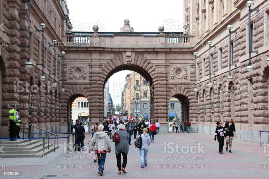 Drottninggatan street and Arch of parliament in Gamla Stan stock photo