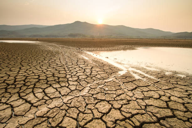 Drought and Climate change impact Drying lake effect of extreme weather and heating wave on summer, Climate change and Drought impact extreme weather stock pictures, royalty-free photos & images