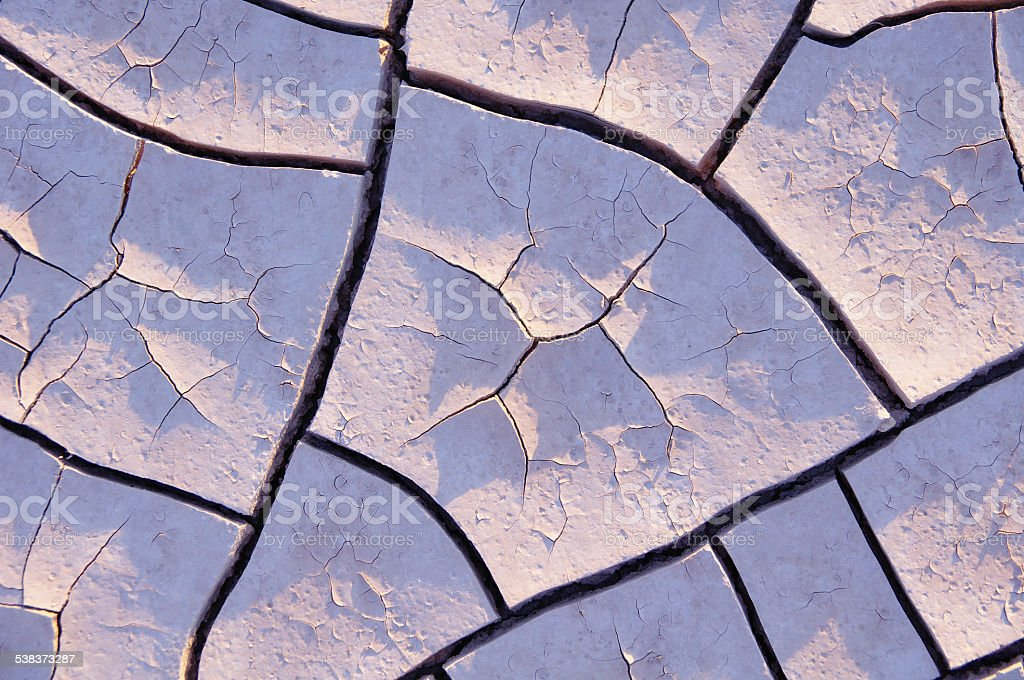Drought, dry mud in the desert stock photo