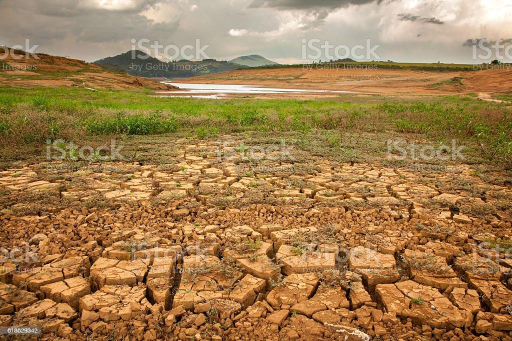 Drought soil in brazilian dam stock photo