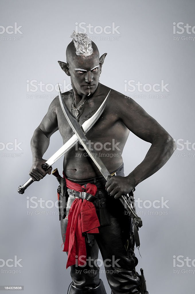 Drow elf on grey with crossed blades. stock photo