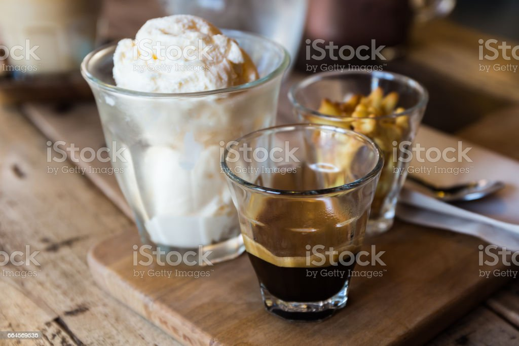 Coffee Affogato, Espresso coffee. stock photo