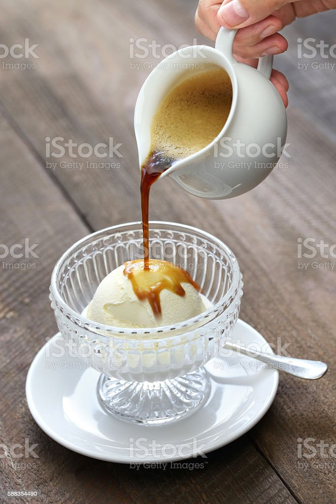 affogato, italian dessert stock photo