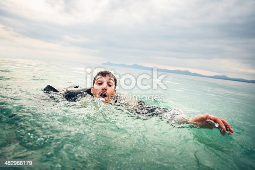 businessman drowning in the open sea