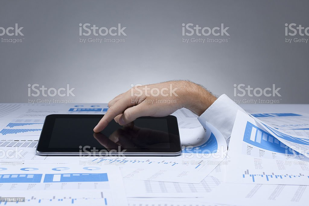 Drowning in paperwork solution royalty-free stock photo