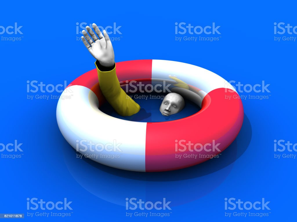 Drowning Man and Rescue stock photo