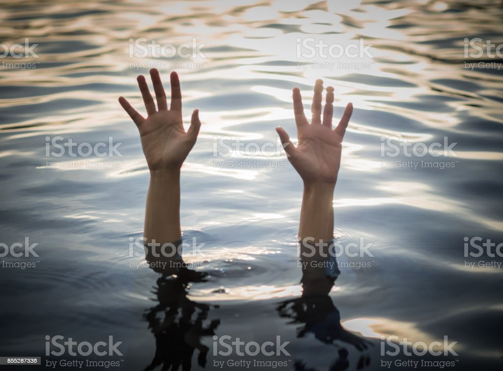 Drowning victims, Hand of drowning woman needing help, with selective focus.    Failure and rescue concept. stock photo