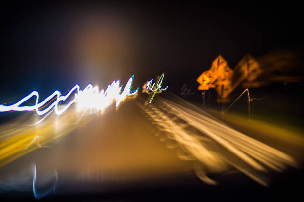 drowsy driving blurred vision effect - impaired driving stock photos and pictures
