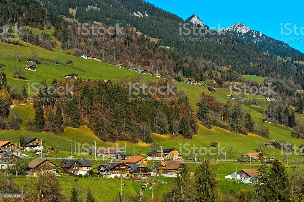 Därstetten in the Simmental valley stock photo