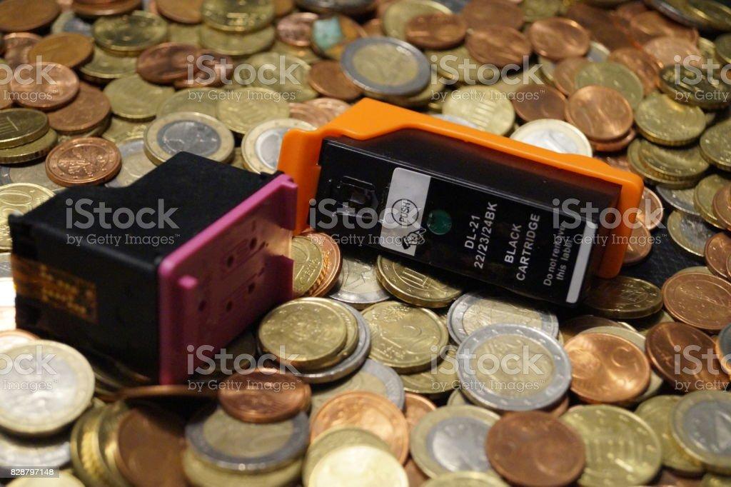 Druckkosten stock photo