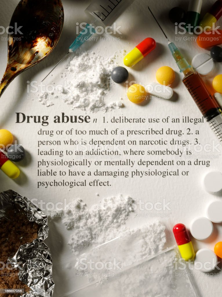Drug Abuse a Dictionary Definition and Narcotics stock photo